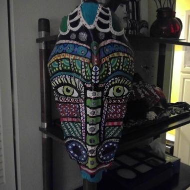 'Antelope Dance Mask', Palm Bark & Acrylic