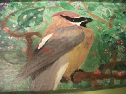 Acrylic on wood, Cedar waxwing, c. ST Martin