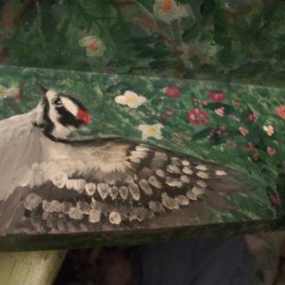 Detail of Over Door Shelf, Downy Woodpecker, c. ST Martin 2016