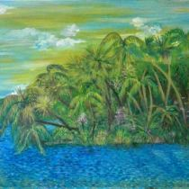 Before Reaching Out, Landscape of St. Lucie River at River Park Marina,Acrylic on Canvas, Susan T. Martin, 2016