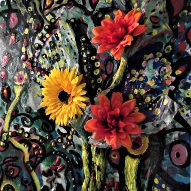 My Fertility Garden, Acrylic and embellishment on canvas, Susan T. Martin, 2017