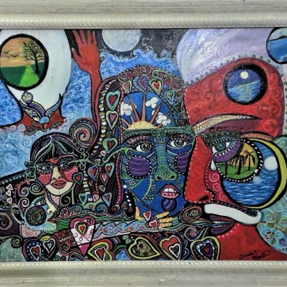 """Legacy of Lunacy, Mixed Media on Canvas, 24""""x 28"""", $500.00 framed, (available)"""