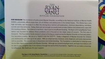The RYAN LICHT SANG Bipolar Foundation!